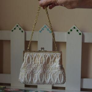 vintage pearl beaded handbag purse off white chain